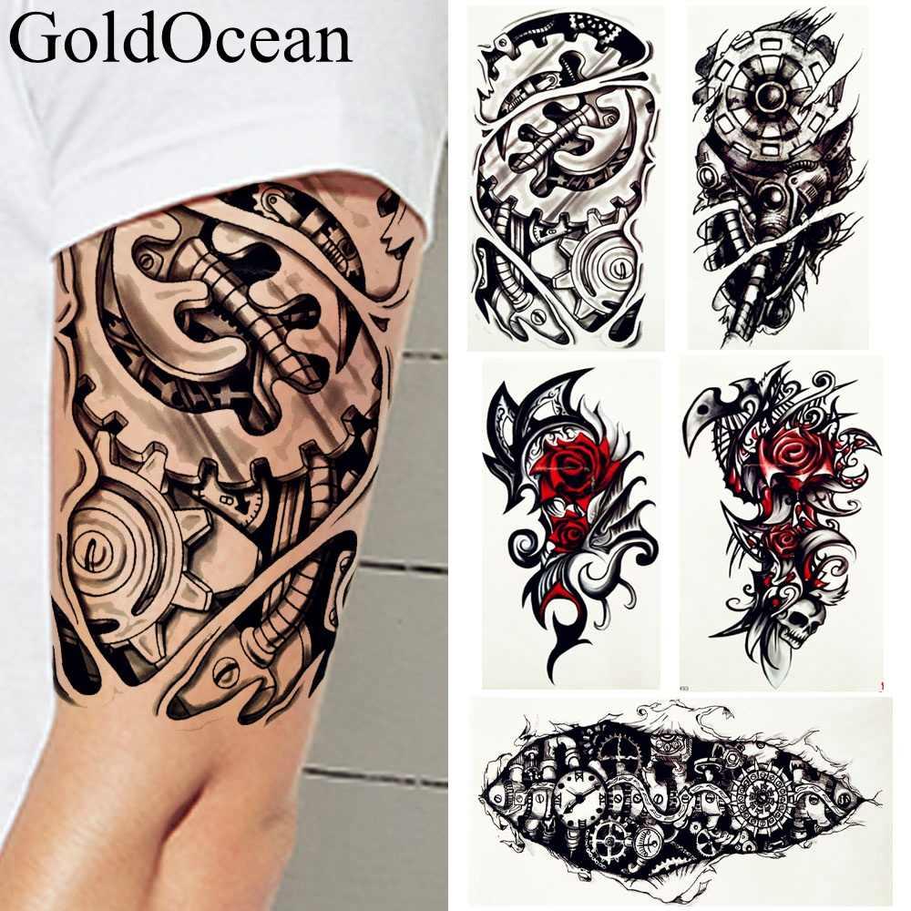 d290dbfb4 Men Large Robot Arm Temporary Tattoo Stickers Black Fake India Tribal Totem  Tattoos Fake Gear Rose