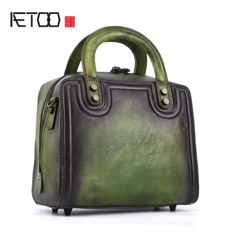 AETOO The first layer of leather fashion solid color handbag new cabinet hand-colored portable diagonal handbags original bag qiaobao women general genuine leather handbags tide europe fashion first layer of cowhide women bag hand diagonal cross package