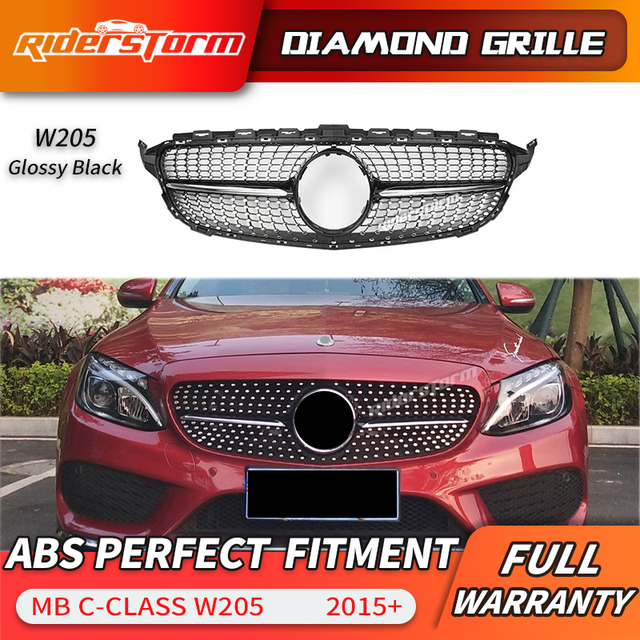 Us 79 3 35 Off For C Class W205 Diamond Front Grill Front Mesh Grille Auto Part For Mercede C180 C200 C250 Grille Front Bumper Grille In Racing