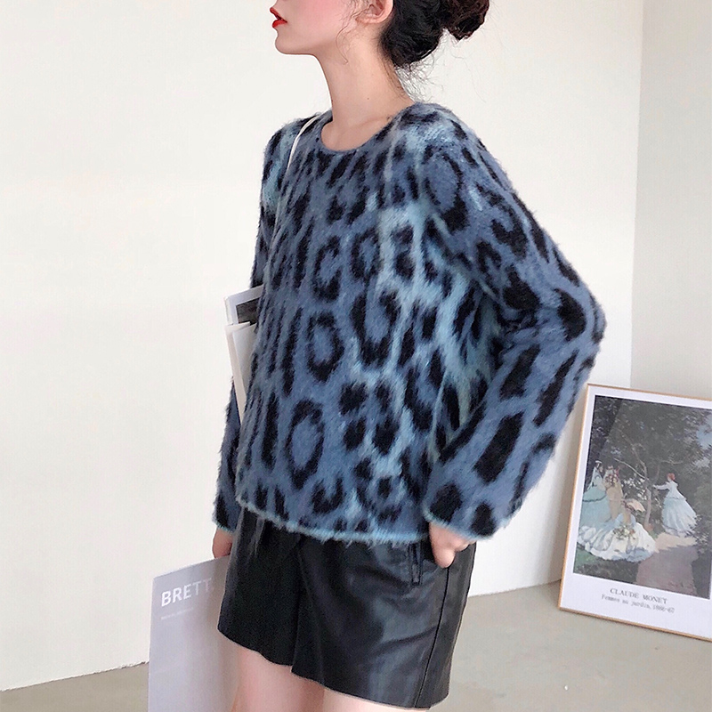 Sexy Leopard Knitted O Neck Pullover Sweater Female Autumn Long Sleeve Women Jumper Casual Mohair Sweater Streetwear