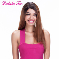 Ombre Auburn Brown Synthetic Lace Front Wig For Black Women Italian Yaki Soft Long Straight Brunette Glueless Heat Resistant Wig
