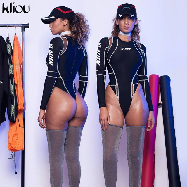 Kliou women full sleeve turtleneck bodysuits mesh patchwork letter print 2019 new fashion female workout street casual rompers