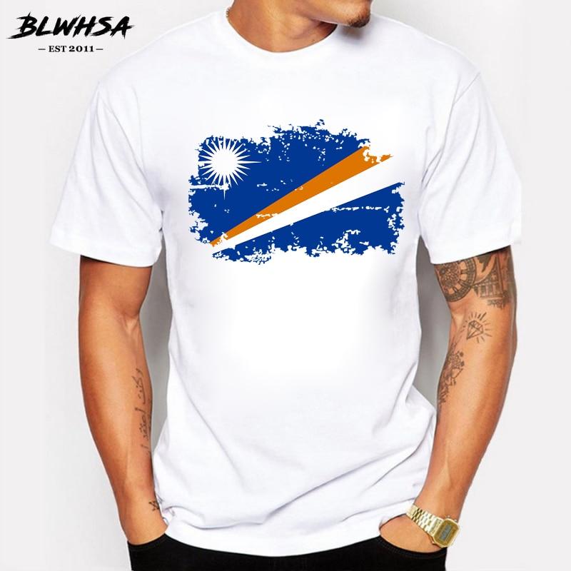BLWHSA Marshall Island Flag T Shirt Men Fashion Summer Short Sleeve Brands T-shirts Marshall Island National Flag Tops Tees