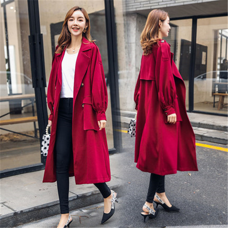 2019 new Spring Autumn Korean Chic   Trench   Coat Women Hong Kong wind loose thin temperament Long windbreaker female X512