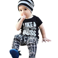 Little Boy Clothing Sets Like A Boss T Shirt Stars Pants 2pcs Boys Clothes Summer Fashion