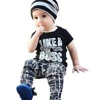Little Boy Clothing Sets Like A Boss T Shirt Stars Pants 2pcs Boys Clothes Summer Fashion