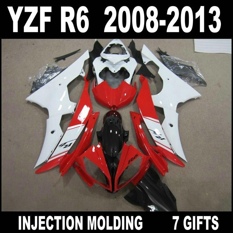 Lowest price fairing body kit for YAMAHA R6 08 09 10 11 12 13 red white black fairings 2008 2009 - 2013 YZF R6 fairing set SED64 все цены