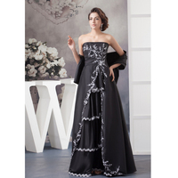 Custom Made Free Shawl Black Taffeta Applique Beading Lace A Line Mother Of The Bride Dresses