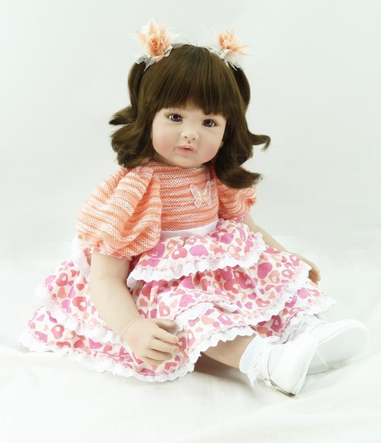60cm Soft Silicone Vinyl Reborn Baby Doll toys brinquedos lovely Accompany Sleep Baby Doll for child
