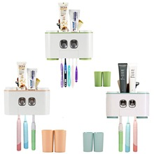 Toothbrush Holder Multifunctional Wall-Mounted Space-Saving Toothpaste Squeezer Kit with Dustproof Cover 3 ways