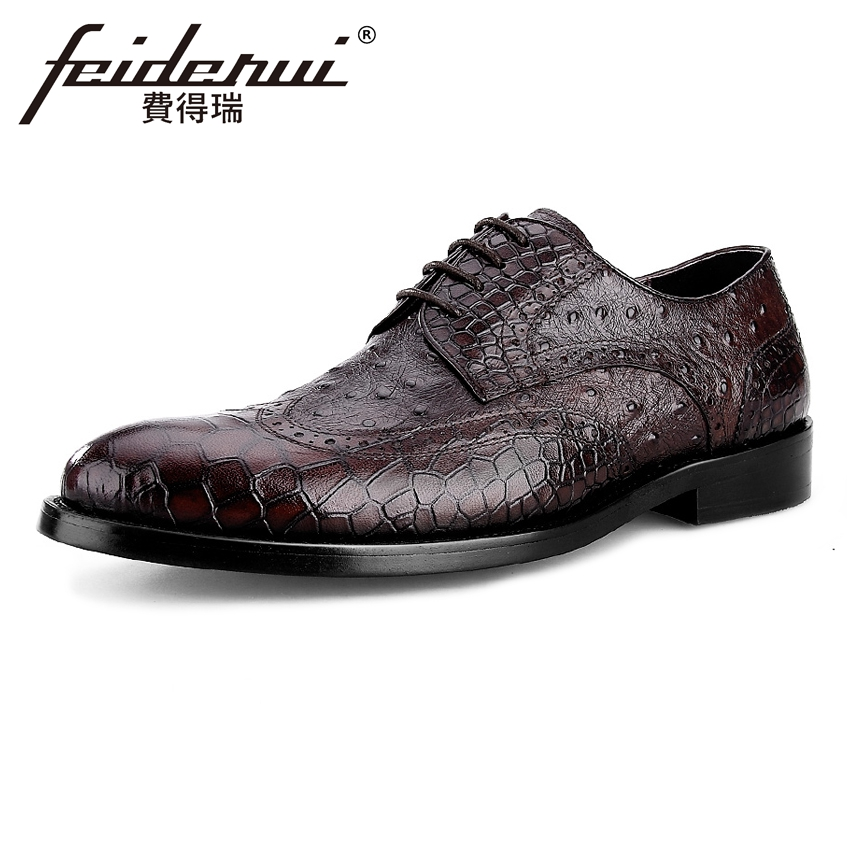 British Vintage Genuine Leather Men's Alligator Patter Oxfords Formal Dress Round Toe Man Flats Male Wedding Brogue Shoes BQL28 krusdan british style vintage man brogue shoes genuine leather handmade oxfords round toe derby formal dress men s flats nk63