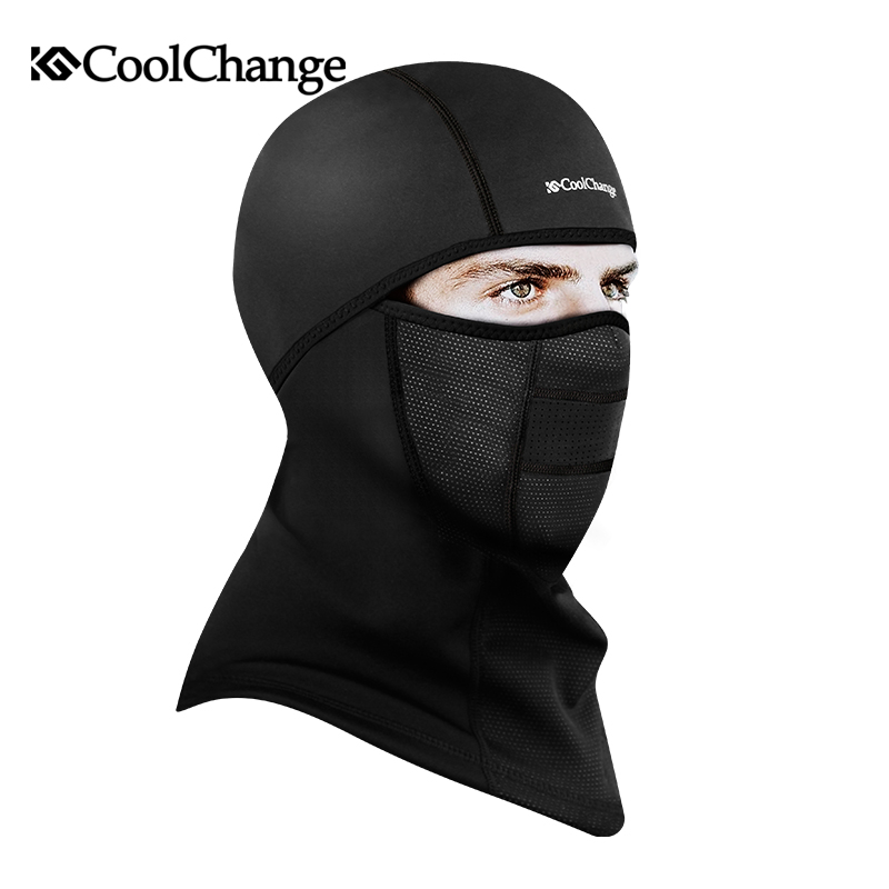 CoolChange Winter Cycling Face Mask Cap Ski Bike Mask Face Thermal Fleece Snowboard Shield Hat Cold Headwear Bicycle Face Mask new winter warm scarf hat mens thermal fleece hood ski bike hiking unisex winter windproof face mask beanie caps mens