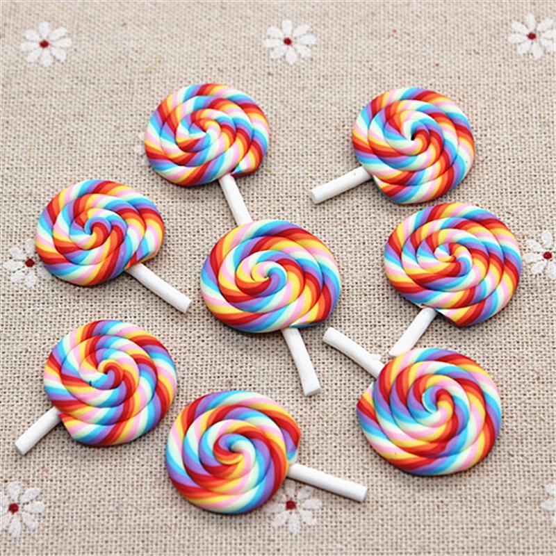 10pcs Kawaii Clay Artificial Candy Rainbow Lollipop Flatback