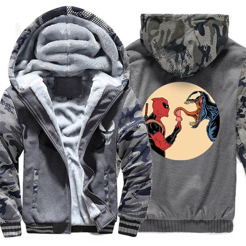 Для мужчин молнии с капюшоном Толстовка Веном зимние теплые Свитшот флисовый утепленный Повседневное чёрное худи пуловер 011 - 3