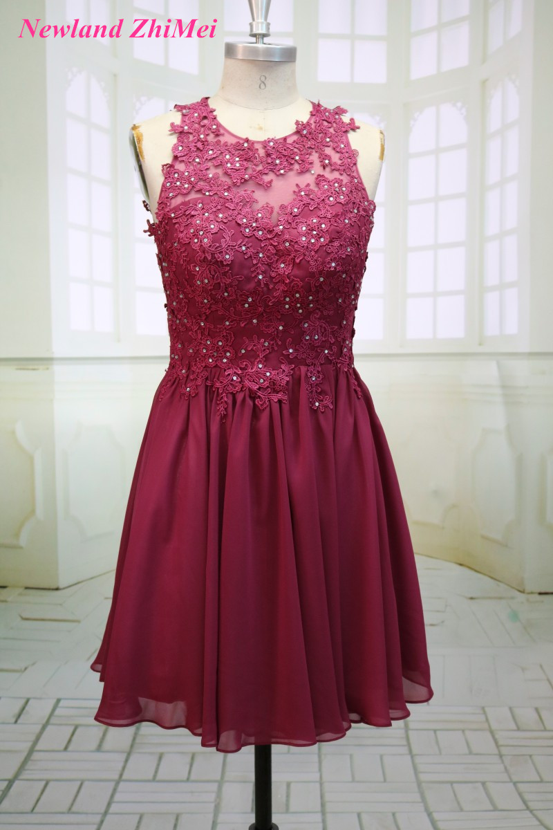 Burgundy Short   Cocktail     Dresses   Vintage O Neck Backless Beaded Applique Chiffon Girl Homecoming   Dress   Custom Made