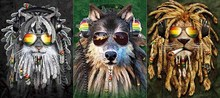 Funny Lion dog sunglasses 3D Flipping Pictures Holograms and Optical  LENTICULAR Art 3in1 12x16inch