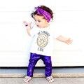 3 UNIDS Chica Linda Bebé Recién Nacido Camiseta Pantalones del Bebé Del Algodón Venda Ocasional Trajes Sistemas de la Ropa de Cuero de Imitación Brillantes Pantalones
