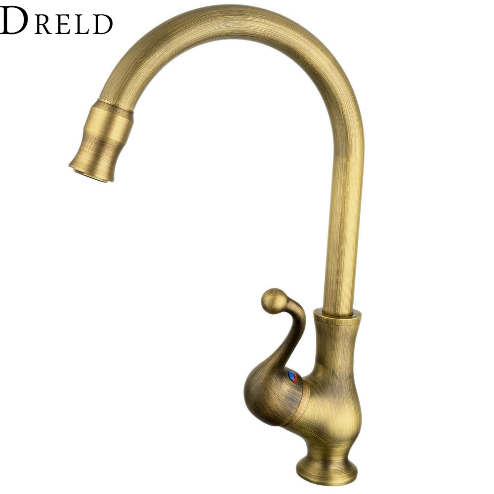 Antique Bronze Kitchen Faucet Single Handle Vessel Sink Mixer Tap Bathroom Basin Faucet Hot and Cold Water Tap Swivel Spout golden brass kitchen faucet dual handles vessel sink mixer tap swivel spout w pure water tap