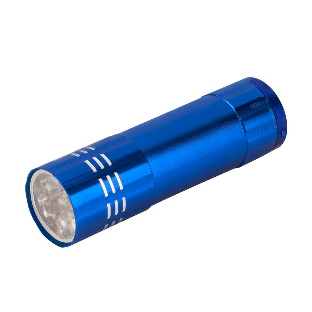 ICOCO 2017 2Pcs high-quality Mini Black Aluminum UV Ultra Violet 9 LED Flashlight Torch Light Lamp penlight free shipping