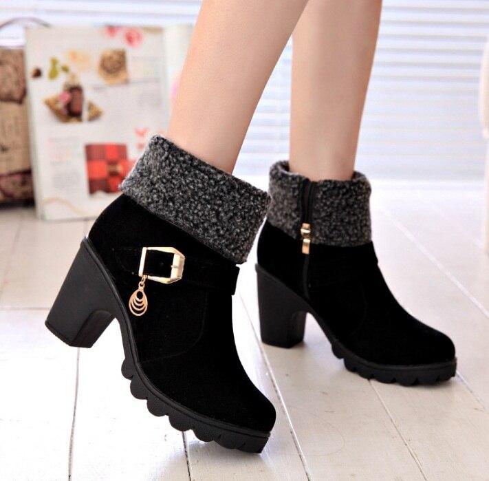 4d00c231 02 Saltos Botas Novo Salto Sapatos black red Mulheres Das De Senhoras 01  Moda Neve Quadrados Slyxsh Quente Inverno Marca ...
