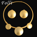 2017 New Folli Fashion Dubai Gold Plated Jewelry Set Nigerian Wedding African Beads Earrings Necklace Set Parure Bijoux Femme