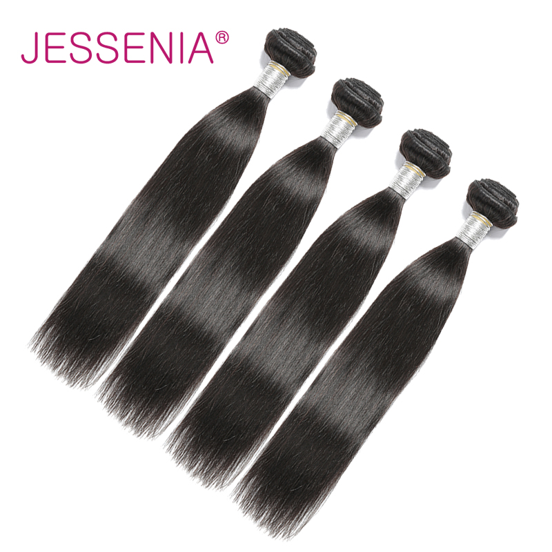 JESSENIA Hair Brazilian Straight Human Hair 4 Bundles 100% Remy Hair Weaves Natural Color 8 To 26 Inch Hair For Free Shipping