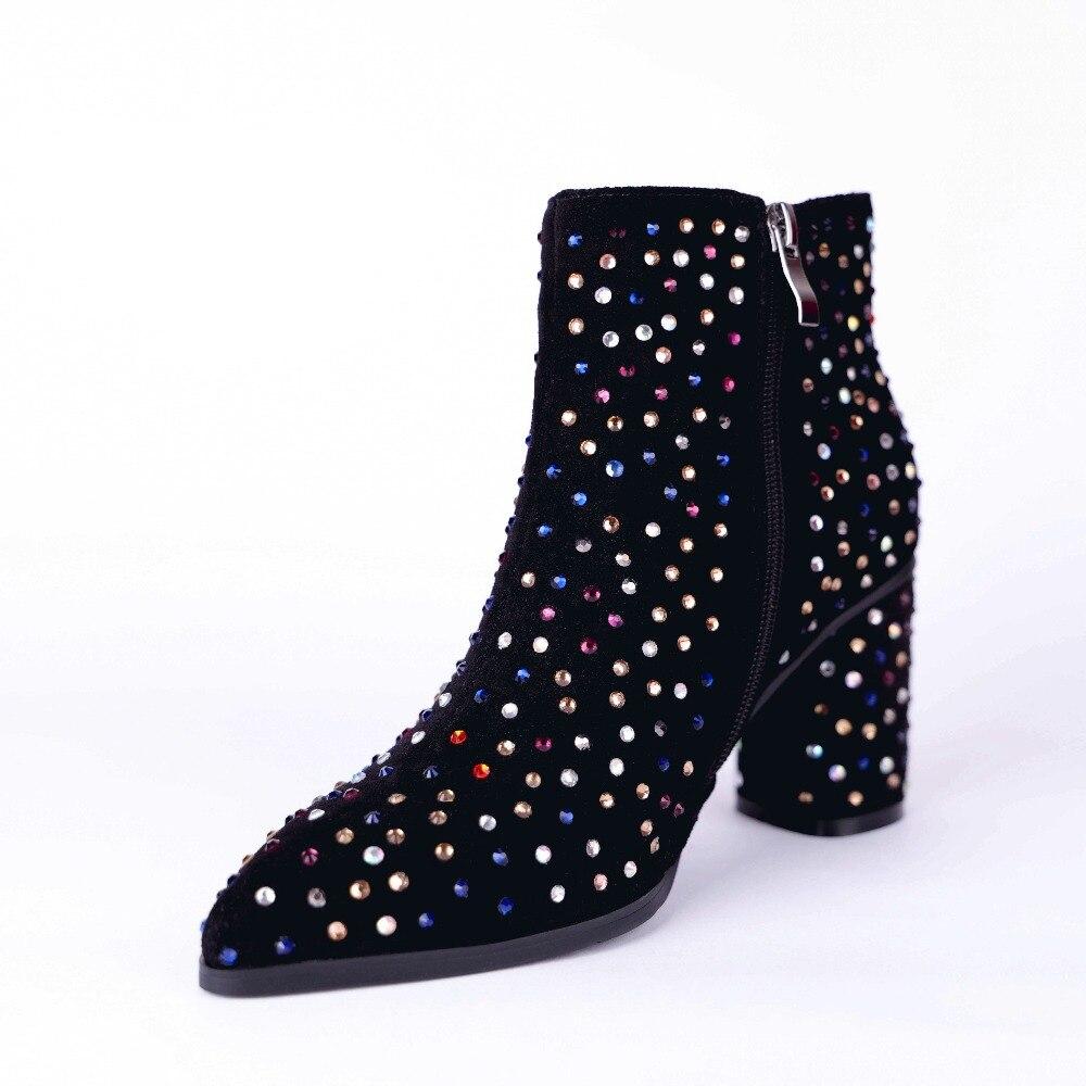 Botas Moda Zapatos De Nuevo Altos Kmeioo Mujer Brillo Black Único Otoño 2019 Los Las Punta Casual Tacones Mujeres AqpAvaF