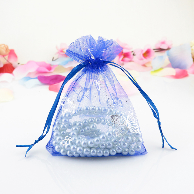 Hot 200pcs Lot Royal Blue Organza Bag 9x12cm Small Wedding Decoration Jewelry Packaging Bags Favor