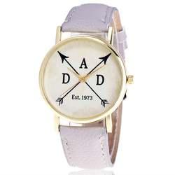 Кварцевые женские часы кожаный ремень Простой дизайн узор Круглый циферблат Прочный классический моды Trendcy обувь для девочек Подарки для