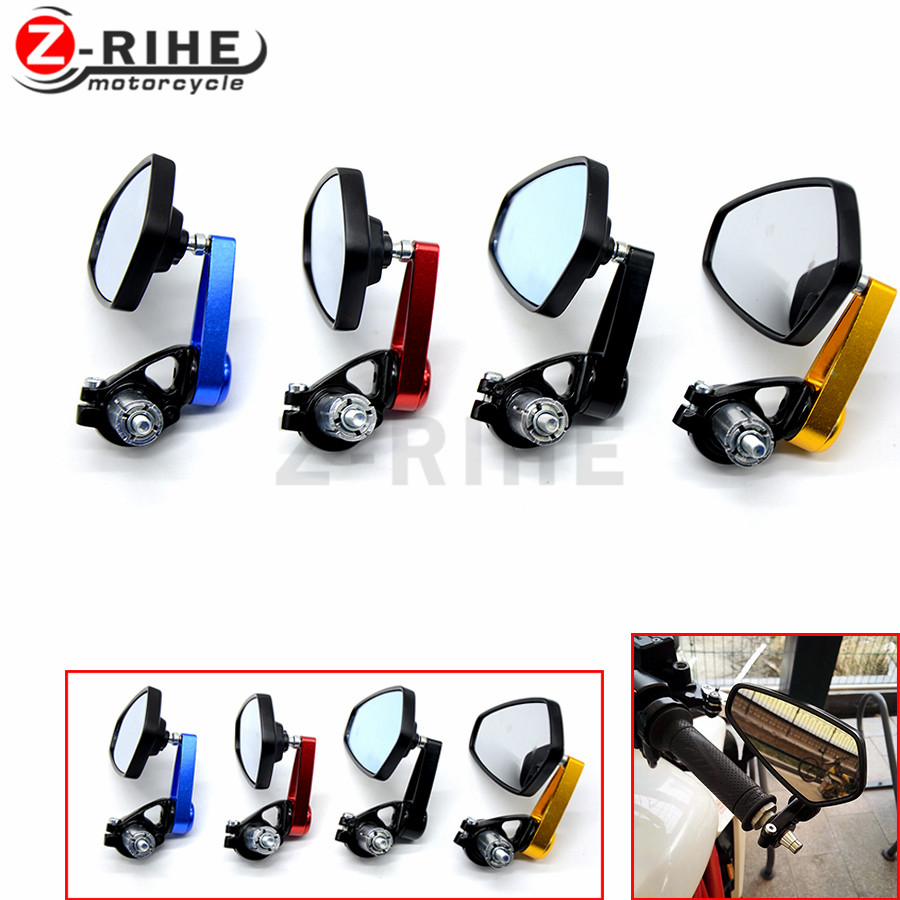 for 7/8 Pair of Motorcycle Universal Handle Bar End Rearview Mirror CNC Aluminum 360 Rotation Bracket Side View Mirrors z900 r1