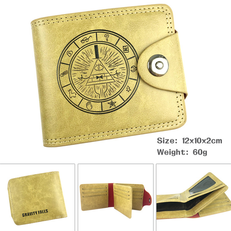 Gravity Falls Cartoon Anime Men Women Boys Girls Short Leather Hasp Button Wallet Purse Money Holder suicide squad neko atsume yo kai watch doctor strange gravity falls high quality pu short wallet purse with button