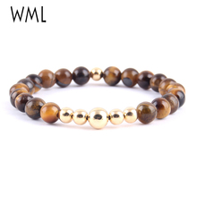 WML wrist wear copper beads bracelet Mens Tiger eye natural Stone Bracelets Bangles for mens accessories