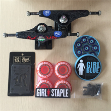 2016 Free Shipping Skateboard Parts Royal Aluminum 5.25″ Skate Trucks And GIRL PU Skate Wheels Girl Blue ABEC-3 Skates Bearings