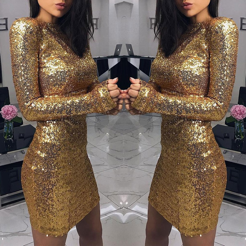 BKLD Elegance Night Party Dresses Womens Glitter Sequins Long Sleeve Round  Neck Club Dresses 2018 Autumn 436cf1df179e