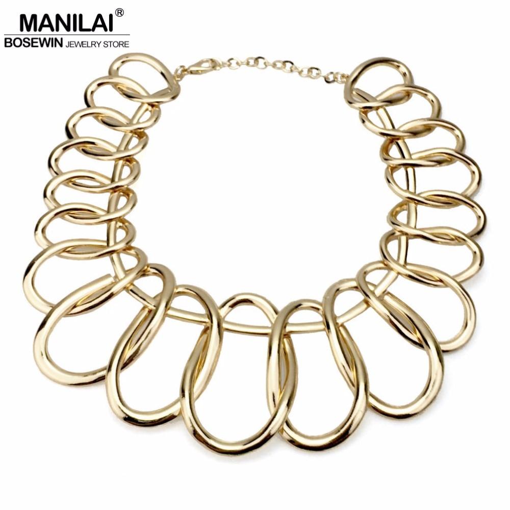 MANILAI Punk Alloy Big Chokers Necklaces For Women 2018 Fashion Jewelry Exaggerated Circle Metal Bib Chunky Necklace Statement stylish circle bead layered chokers necklace