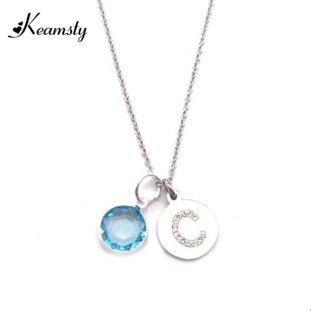 Keamsty hot selling letter initial necklace crystal disc alfabet c keamsty hot selling letter initial necklace crystal disc alfabet c pendant with birthstone dangle necklace set aloadofball Image collections