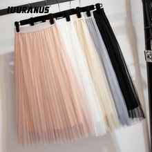 IUURANUS Womens Tulle Plain Pleated Skirt 2019 New Fashion Black Beige White Pink Grey Mesh Midi High Waist Woman Skirts