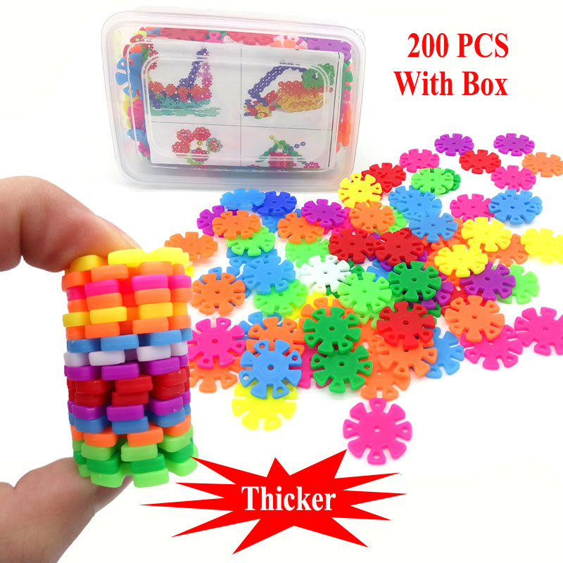 200Pcs Thicker 3D Puzzle Plastic Snowflake Building Blocks Educational Toys For Childrens With Gift Box ...