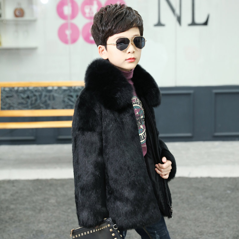 JKP 2018 Winter and Autumn Boys Fur Hooded Collar coat Child Natural Rabbit Fur Jacket Fashion Outerwear & Coats TTH-0164 2018 new arrival fashion women genuine real knitted rabbit fur jackets fox fur collar natural fur coats slim autumn winter cloth
