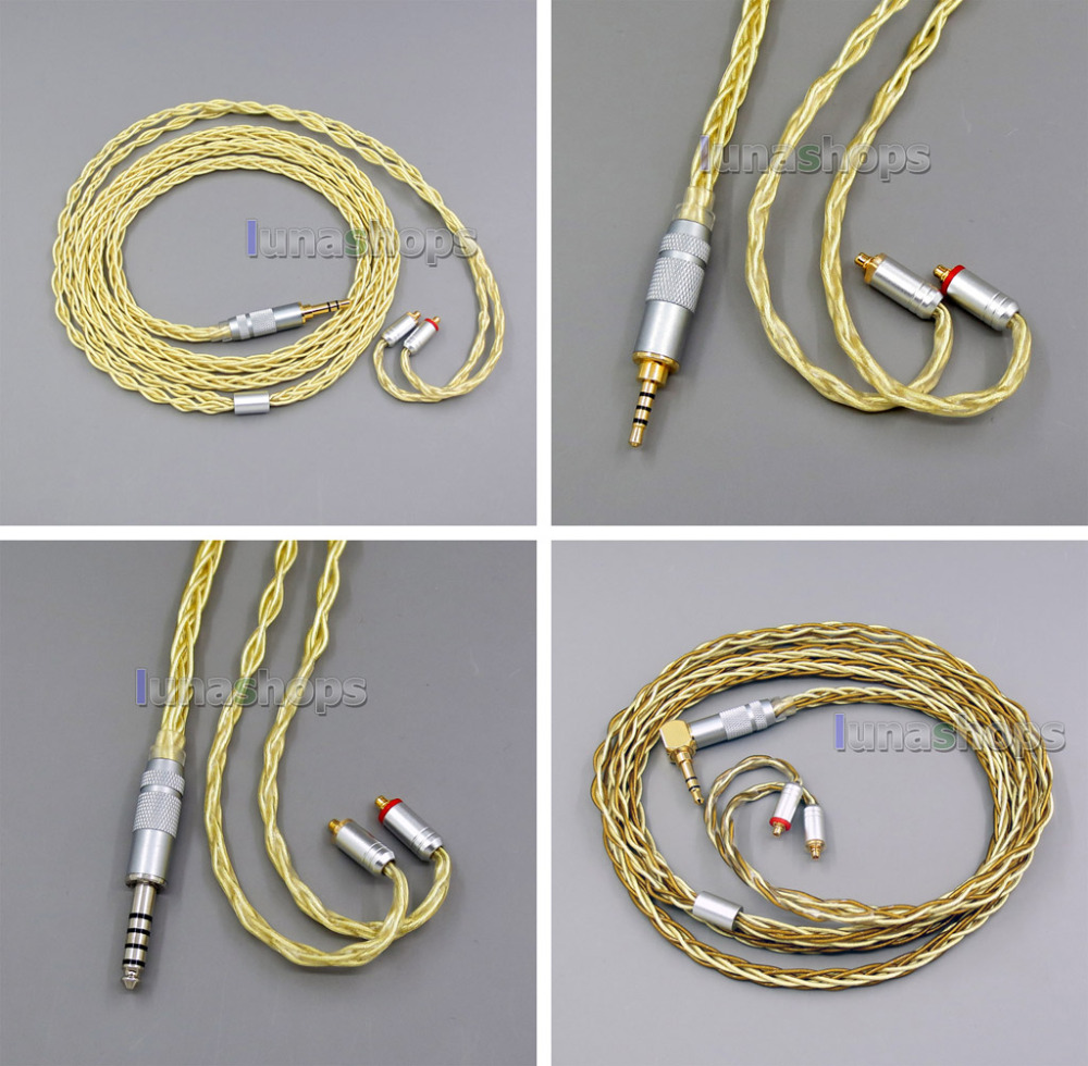 8 Core Extremely Soft 7N OCC Pure Silver Gold Plated Earphone Cable For Shure se535 se846