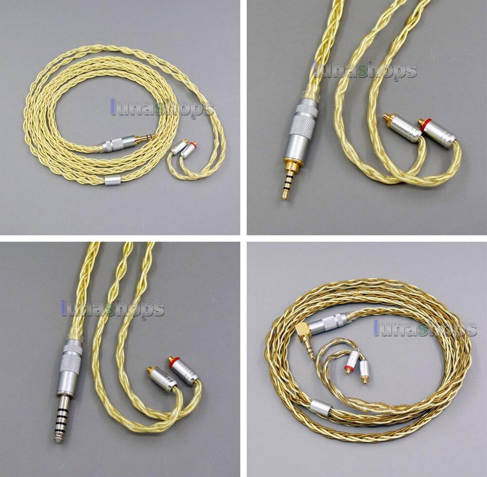8 Core очень мягкий 7N OCC чистого серебра + Позолоченные наушники кабель для Shure se535 se846 se425 se215 MMCX tbjs LN005965