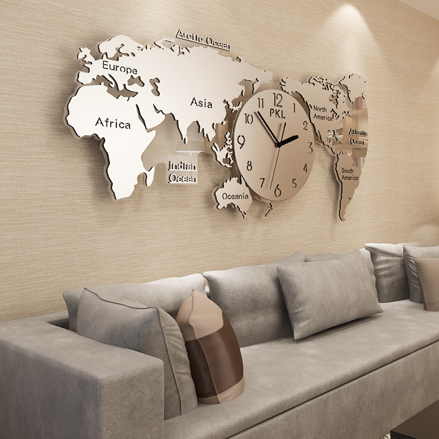 קנו עיצוב הבית World Map Wall Clock Modern Design 304 Stainless
