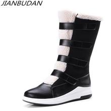 JIANBUDAN Cotton Plush warm winter womens snow boots PU leather Platform wedge High Female Size 34-43