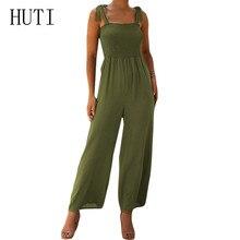 HUTI Sexy Spaghetti Strap Sleeveless Chiffon Bodysuits Summer Casual Wide Leg Jumpsuit Elegant Beach Rompers Women Overalls