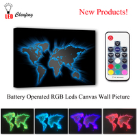 RGB Led Canvas Wall Decorative 3d World Map cool Picture Remote control Canvas Print Illuminated painting lighted UP kids Gift