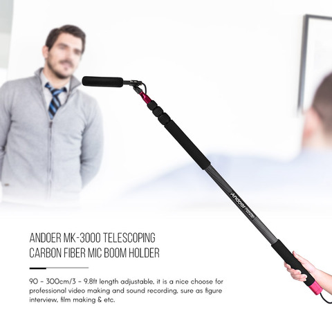 Andoer MK-3000 3m Mic Microphone Boom Holder Arm Pole Mount Stand for DSLR Cameras Camcorders Video Studio Recording Interview Pakistan
