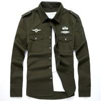 2017 Military Winds Fashion Mens Cargo Shirt Brand Men Casual Shirt Solid Autumn Long Sleeves Shirts