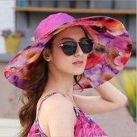 2017 Summer Women Sun Hat Ladies Wide Brim Hats Outdoor Foldable Beach Panama Hats Church Hat