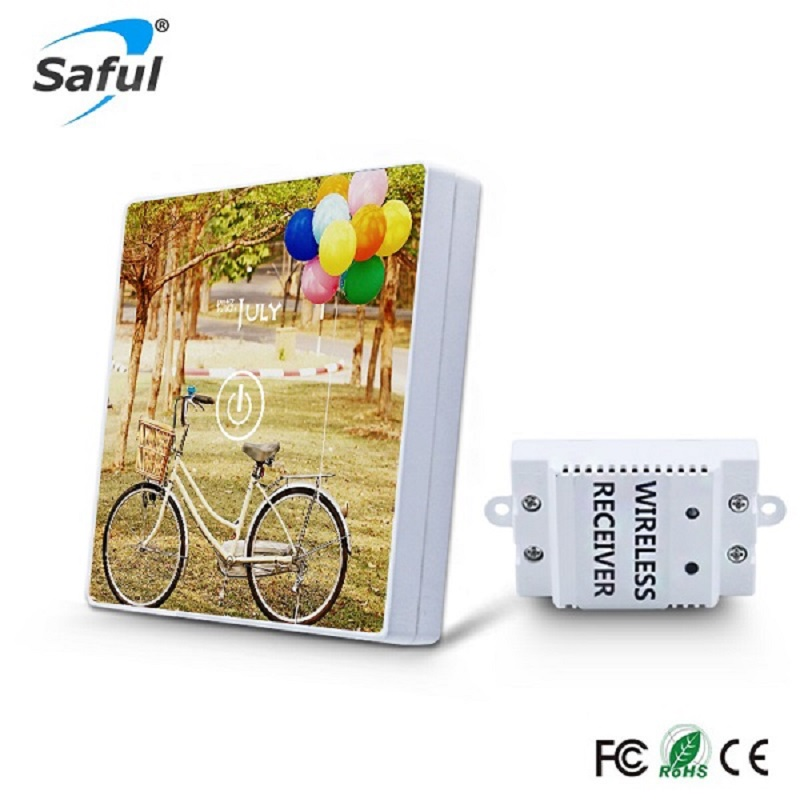 Saful Touch Switch 1 Gang 1 Way 433MHz Luxury Tempered Glass Panels Waterproof Remote Control Light Wall Home 220V Switch