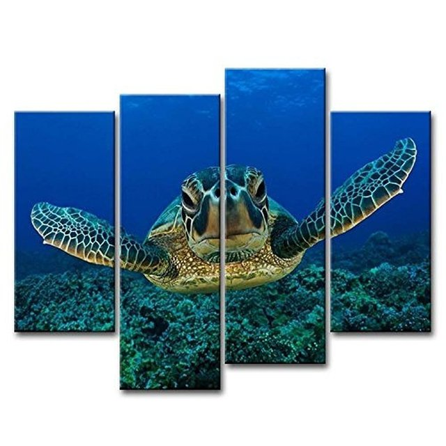 Fashion 4 Pieces Deep Sea Turtle Canvas Wall Art Home Decoration Pictures 4  Panels For Living